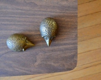 vintage brass hedgehog figurines