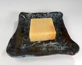 Ceramic soap dish, pottery soap holder dish, hand built stoneware soap dish, rectangle soap dish with butterflies, ceramic sponge holder