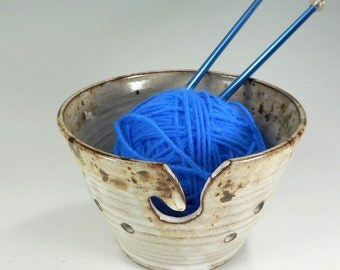 Ceramic knitting bowl, pottery crochet yarn holder, stoneware tatting holder, ceramic yarn bowl, pottery yarn bowl white and brown glaze