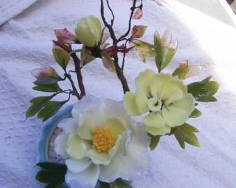 Vintage Made in Japan Floral Jade Tree Plant