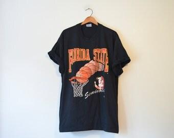 Vintage Black Florida State Seminoles Basketball T Shirt