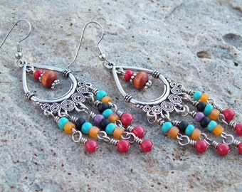 Wanderer - Teardrop Chandelier Earrings with Red Mountain Jade - Colorful Beaded Drops