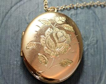 Large Gold Filled Oval Locket Necklace, Rose Engraved Vintage Photo Pendant - Golden Adornment