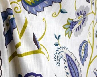 Petal Pusher Juniper Cream Lime Green Blue Teal Brown Jacobean Floral Fabric