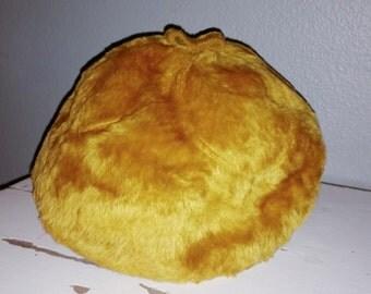 Vintage 1960s Designer Dino Valli Italy mustard yellow Faux Fur beret Style Hat