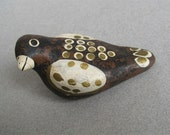 Art Pottery Bird Small Earthenware Handmade Hand Painted Signed Dated 1991