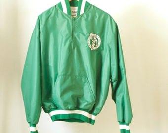 vintage BOSTON CELTICS starter style henley NYLON basketball vintage 80s size xl jacket coat