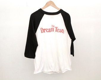 the DREAM TEAM vintage 80s black and white BASEBALL style shirt