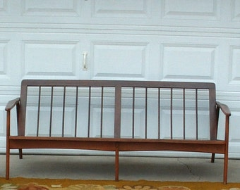 Mid Century Wood Frame Sofa Couch  Local PICK UP only