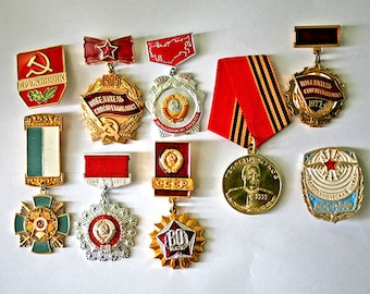 Soviet Vintage Badges / Pins / Awards /  - Set of 9 Soviet Army and Work Service Insignia - from Russia / Soviet Union / USSR