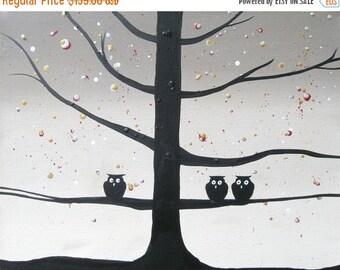 "canvas art  silhouette art ""Owl Squad"" wall art Original Painting owl decor 16 x 20 "" wall nursery starry night tree of life"