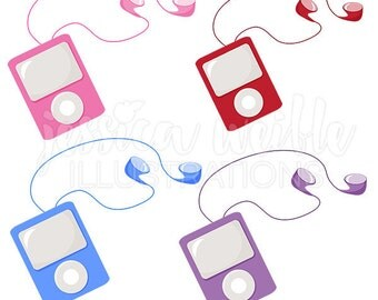 Cool MP3 player Cute Digital Clipart - Commercial Use OK - music player Graphics, Earbud Clip art, mp3 player Illustration, #020