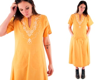 MARIGOLD 80s Bright Orange Sherbet White Embroidered Folk Gypsy Retro Ethnic Polynesian Islander Maxi Dress Small S