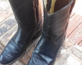 Clearance Vintage Leather Women's Navy Blue Justin Boots Size 7E
