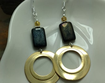 Black Gold Hoops Sterling Silver Earrings, Black Gold Silver Hoop Earrings, Black Sterling Silver Hoop Earrings, Gold Hoop Earrings