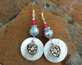 Pink and Blue Shell Heart Earrings, Shell Light Blue Heart Sterling Silver Earrings, Silver Pink Heart Sterling Earrings, Heart Earrings