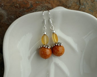 Burnt Orange Earrings, Burnt Orange Sterling Silver Earrings, Orange Sterling Earrings, Orange Dangle Silver Earrings