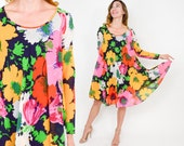 60s Colorful Floral Dress | Pink Orange Yellow Print Tent Party Dress | Medium