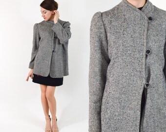 70s Grey Wool Jacket  | Short Wool Tweed Winter Coat | Medium
