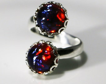 Dragon's Breath Ring, Adjustable Ring, Dual Stones, Red Opals