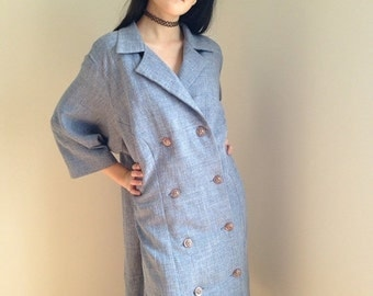 VALENTINES DAY SALE vintage plus size coat military double breasted spring slate blue