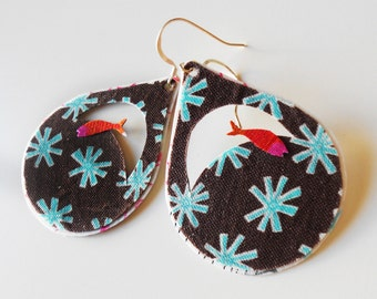 Brown textile earrings-drop shape-fish in stars-free shipping to Greece
