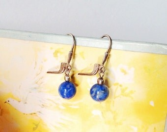 Vintage Blue and Grey Stone Sterling Silver Earrings // 1980s