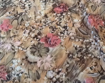 Vintage Floral Fabric Chiffon Pink Green Gold Impressionist