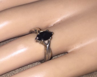 Vintage Sterling Silver Onyx Ring signed AVON