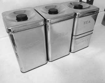 Mid Century Chrome Metal Kitchen Canister Set of 4 by Kreamer Wear