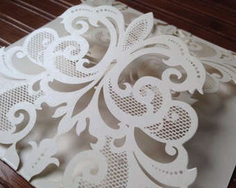 Laser Cut FOLDER Sample ONLY -  ALEXANDRA Style Elegant Laser Cut Folder in Shimmering Cream