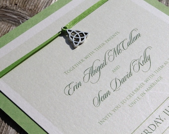 Green Layered invitation with Trinity Charm - CELTIC KNOT - *Sample* Irish Wedding Invitation Set with Reply Card and Envelopes