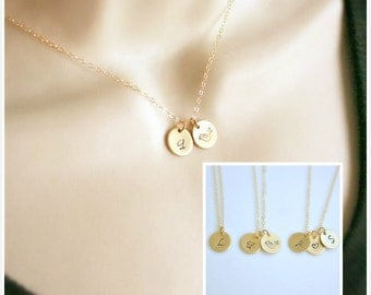 Personalized Necklace, Initial Necklace, Gold Disc Necklace, Dainty Charm Necklace, Monogram Letter Disc Necklace, Bridesmaids Gift