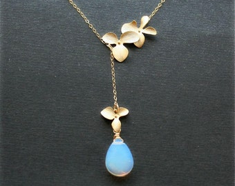 Opalite Moonstone with Gold Orchid Necklace, Lariat Necklace