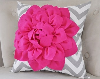 pillows hot pink dahlia on gray and white zigzag pillow hot pink pillow decorative throw