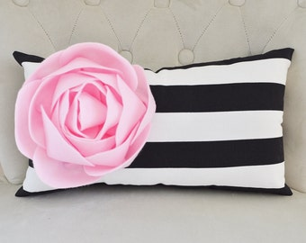 Peony Pillow- pink peony flower, felt peony, felt flowers, flower pillows, peony favors, peony home decor, black stripe lumbar, pink peonies