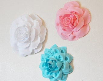 Set of THREE Varying sizes Rose Flower and Dahlia Flower with Hidden Canvas Flower size 8-12 inches in diameter CHOOSE Your COLORS