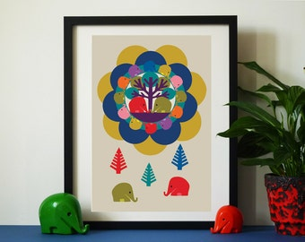 Vintage inspired Elephant Tree A3 print  Mid-century style print