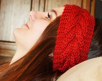 red knit headband, deep red knit headband, red winter headband, red knit head band, deep red knit head band, deep red winter headband,