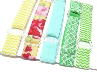 Set of 5 - Yellow & Green Adjustable Elastic Headband, Hair Band, Baby Headband, Adult Headband, Yoga Headband,  Sport Headband