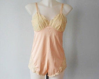 Vintage Teddy, Teddy, Lingerie, Vintage Lingerie, 1960s , French Maid,  Pink and Cream Teddy,  Pink Teddy, Lace, Wedding, Romantic, Lingerie