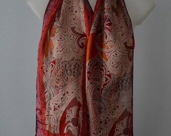 Vintage Silk Scarf, Vintage Ladies Silk Scarf, OSCAR, Oscar de le Renta, 1990s Silk Scarf, 1990s Scarf, Silk Scarf