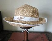 Women's summer hat | brim | beach | sun | rhinestone leaf | straw