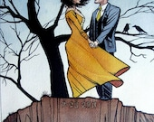 """RESERVED for Nicole S - 8""""x10"""" Custom Watercolor Comic Book Couple Portrait with Background"""