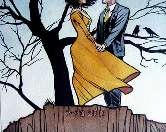 "8""x10"" Custom Watercolor Comic Book Couple Portrait with Background"