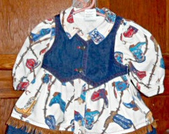 Baby Cowgirl Outfit Vintage Baby Clothes Baby Dress 12 Months