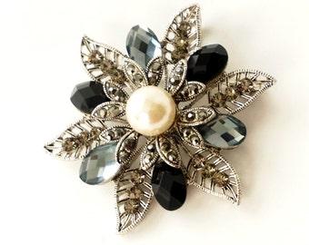 Rhinestone Jewelry Vintage Flower Pin Pendant Statement Brooch