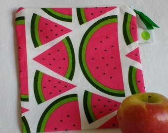 """Eco friendly Reusable Sandwich Bag - 7.5"""" x 7.5""""- Food safe PUL lined, Zippered, Machine Washable"""