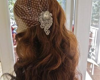 Bandeau Birdcage Veil, Wedding Blusher Veil, Bridal Rhinestone Veil