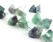 Raw Crystal Stud Earrings - Rainbow Fluorite Crystal Jewelry - Gemstone Stud Earrings - Boho Earring Studs - Large Stone Jewelry